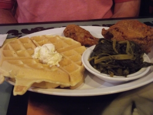 Chicken and Waffles...what's that green stuff on Tom's plate!