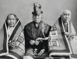 Proud Tlingits in their Chilcat Robes